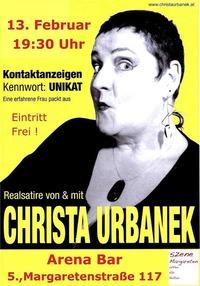 Die Szene Margareten präsentiert: Christa Urbanek in Kontaktanzeigen Kennwort: Unikat Eine erfahrene Frau packt aus@Arena Bar Variete Theater Cafè