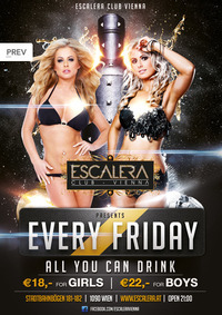 EVERY FRIDAY ALL YOU CAN DRINK@Escalera Club