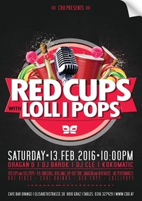 Red Cups With Lolli Pops@Orange