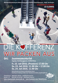 Die Kofferenz - Wir packen aus! - Aktionstheater mit Clowns im öffentlichen Raum@Graz Joanneumsviertel
