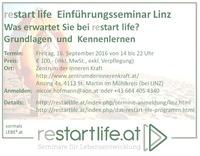 restart life  Einführungsseminar Linz @Zentrum der Inneren Kraft