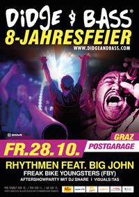 """BIG JAM mit Stargast """"BIG JOHN"""" bei der 8 Jahresfeier von DIDGE & BASS@Postgarage"""