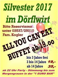 Silvester Gaudi mit All you can eat Buffet@Bierfactory XXL