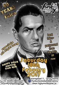 FALCO - 60 YEARS !!! - Saturday Febuary 18th 2017@Funky Monkey