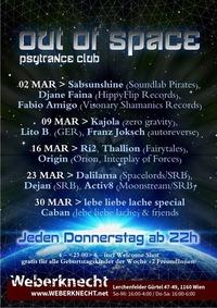 Out Of Space Psytrance Club // Do 2.3. Weberknecht@Weberknecht