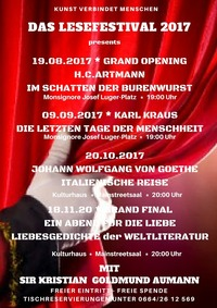 Das Lesefestival 2017 presents H.C.Artmann - Im Schatten der Burenwurst mit Sir Kristian Goldmund Aumann@Alter Pfarrhof, Kulturhaus