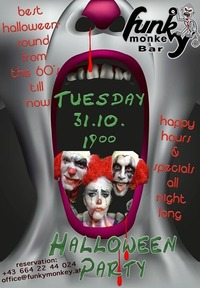 Halloween Party !!! - Tuesday October 31st 2017@Funky Monkey