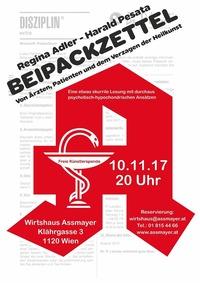 Beipackzettel - Regina Adler & Harald Pesata@Wirtshaus Assmayer