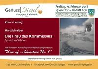 Krimi-Lesung im GenussSpiegel: Die Frau des Kommissars – Spuren im Schnee – von Mart Schreiber@Genuss-Spiegel - Café, Kunst & Kulinarik