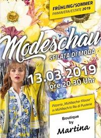 Modeschau Frühling Sommer 2019/Sfilata di moda primavera estate@Pizzeria. Mühlbacher Klause
