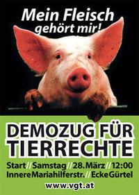 Großdemozug für Tierrechte@Innere Mariahilferstraße Ecke Gürtel am Mariahilfer Platz'l