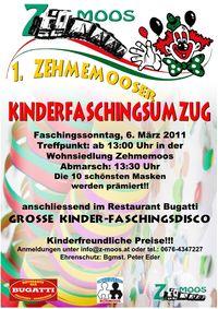 1. Zehmemooser Kinder-Faschingsumzug und Kinder-Faschingsdisco@Bürmoos-Zehmemoos Wohnsiedlung