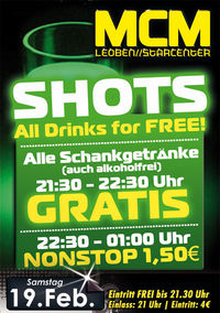 Shots - All Drinks for free!