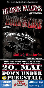 Live: Hudson Falcons / Born to lose / Pipes & Pints / United Bastards