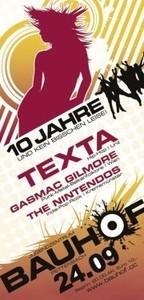 10 JAHRE - BAUHOF Pettenbach - Texta | Gasmac Gilmore | The Nintendos@Bauhof Pettenbach