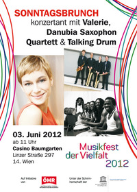 Sonntagsbrunch konzertant - mit Valerie, Danubia Saxophon Quartett & Talking Drum