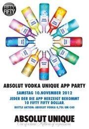 Absolut Vodka Unique App Party