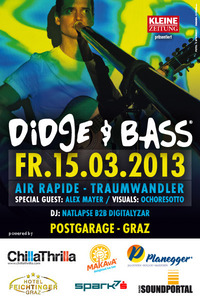 Didge & Bass mit air rapide, Traumwandler und Alex Mayer@Postgarage