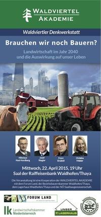 Brauchen wir noch Bauern? Landwirtschaft im Jahr 2040@Raiffeisenbank Waidhofen/Thaya