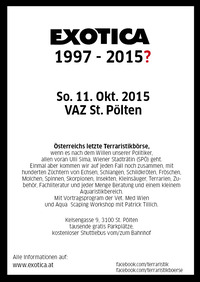 Die letzte EXOTICA Reptilienbörse in St. Pölten? 11. Oktober@VAZ St.Pölten
