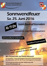 Sonnwendfeuer 2016 in Kematen@Bauhof Kematen