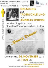 Andreas Schindl Tagebuchlesung@Kunstraum Ewigkeitsgasse