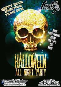 Halloween all night Party Weekend - Friday, October 28th 2016@Funky Monkey