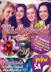 Maurer's Mädlsabend - jeden Samstag im Nov@Maurer´s