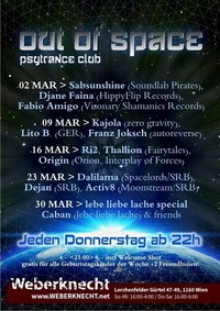 Out Of Space Psytrance Club // Do 2.3. Weberknecht@Weberknecht