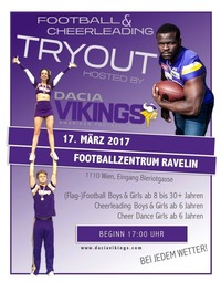 TRYOUT der Dacia Vikings für American Football & Cheerleading@Ravelin Football Zentrum