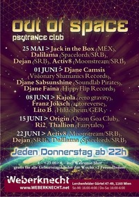 Out Of Space Psytrance Club // Do 1. Juni // Weberknecht@Weberknecht