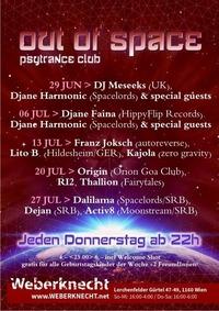 Out Of Space Psytrance Club // Do 29. Juni // Weberknecht@Weberknecht