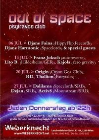 Out Of Space Psytrance Club // Do 20. Juli // Weberknecht@Weberknecht