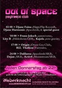 Out Of Space Psytrance Club // Do 24.8. // Weberknecht@Weberknecht
