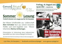 GenussSpiegel´s Sommerlesung – Literatur am Atzgersdorfer Kirchenplatz@Genuss-Spiegel - Café, Kunst & Kulinarik