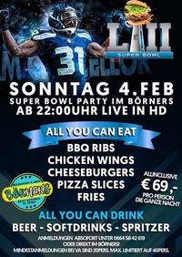 1. Superbowl Party im Börners l Allyoucaneat+drink@oceans House Club