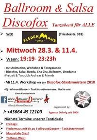 Ballroom Discofox Salsa Tanzabend mit Workshop AllroundDancer@Fledermaus Graz