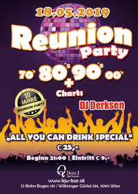 REUNION-PARTY 80's, 90's, 2000's + Charts @Q[kju:] Bar
